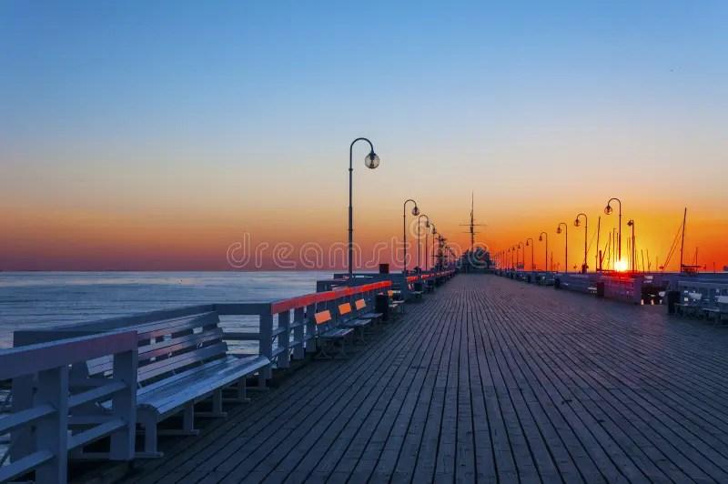 Sopot Pier At Sunrise Stock Photo Image Of Landscape