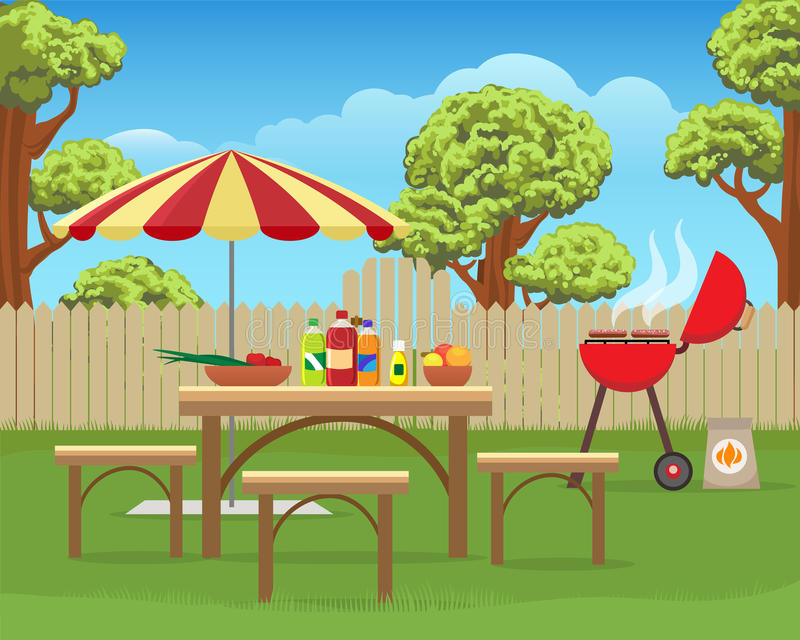 Backyard Bbq Party Cartoon