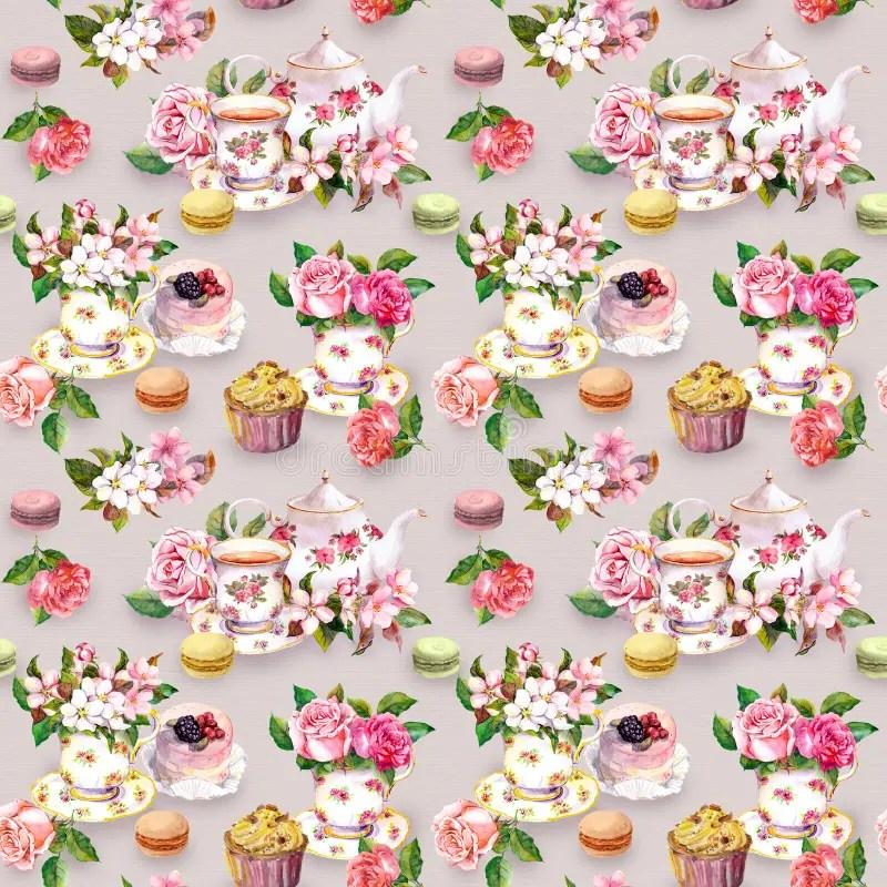 Watercolor Flower Cup Tea