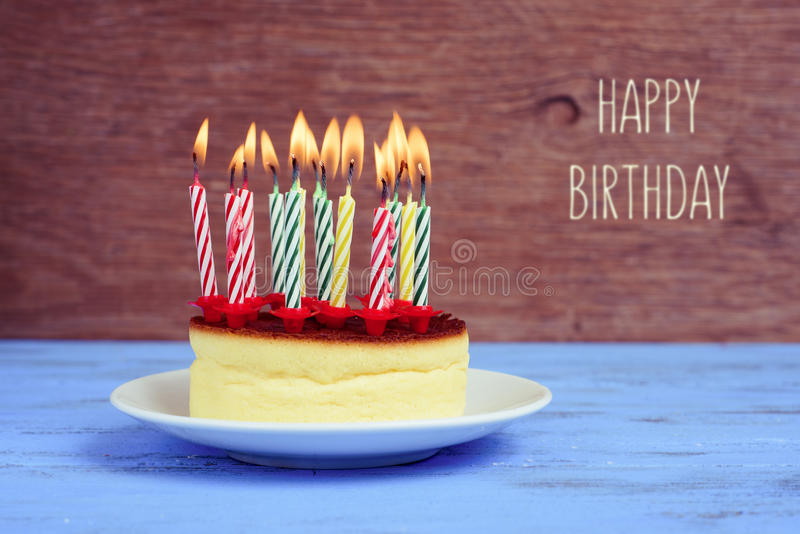 Text Happy Birthday And Cheesecake With Lighted Candles Stock Photo Image 60223100