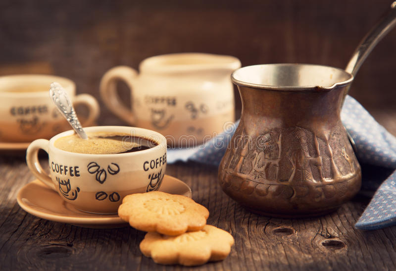 Two Cups Of Coffee And Cookies For Breakfast Stock Image
