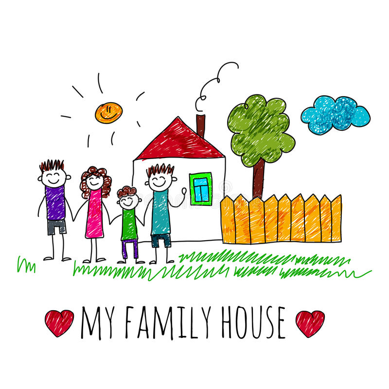 Cartoon House In A Family Of 7