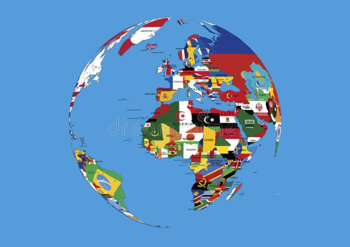 World Globe Europe Africa And Asia Flags Map Stock Illustration     Download World Globe Europe Africa And Asia Flags Map Stock Illustration    Illustration of country