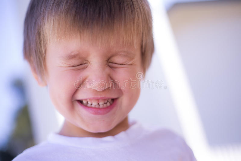 Young Boy Smiling Eyes Closed Stock Photo - Image of smile ...
