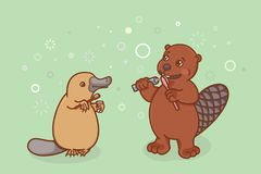 Children Holding A Toothbrush And Brushing Teeth  Coloring Book Page     The beaver and the platypus are brushing their teeth  Royalty Free Stock  Photography