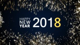 Happy New Year 2018 Social Post Card With Gold Animated Fireworks On     Looping happy new year 2018 social post card with gold animated fireworks  on elegant black and