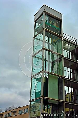 Architecture Glass Elevator Shaft Stock Photo Image