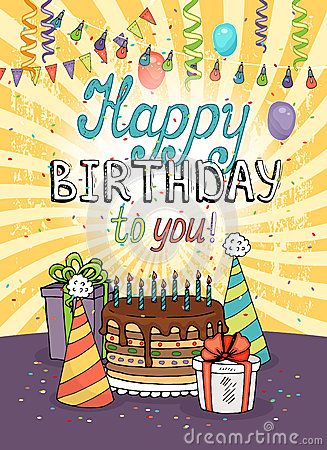 Happy Birthday Greeting Card Or Invitation Stock Vector