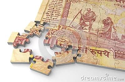 Indian Rupee Puzzle Stock Illustration - Image: 45463711
