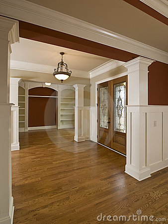 Luxury Home Interior Foyer Stained Glass Door Stock Image