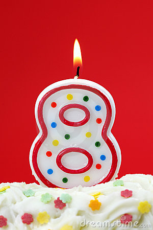 Number Eight Birthday Candle Stock Images Image 13923264