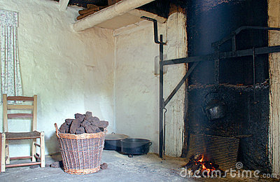 Old Irish Cottage Fireplace Royalty Free Stock Photo