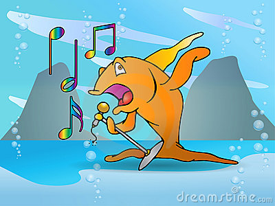 Orange Fish Singing Performance Stock Images Image 15473234