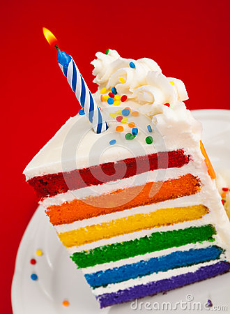 Rainbow Birthday Cake Slice Royalty Free Stock Images