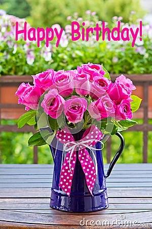 Rose Bouquet Text Happy Birthday Stock Photo Image 51933227