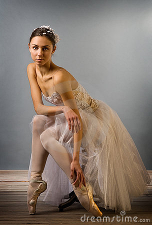 Tender Ballet Dancer Sitting Isolated Royalty Free Stock Photography Image 13185677