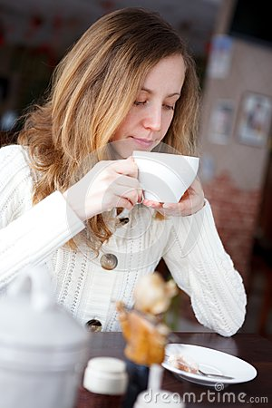 Young Beautiful Elegant Girl Drinking Coffee Or Tea Stock ...