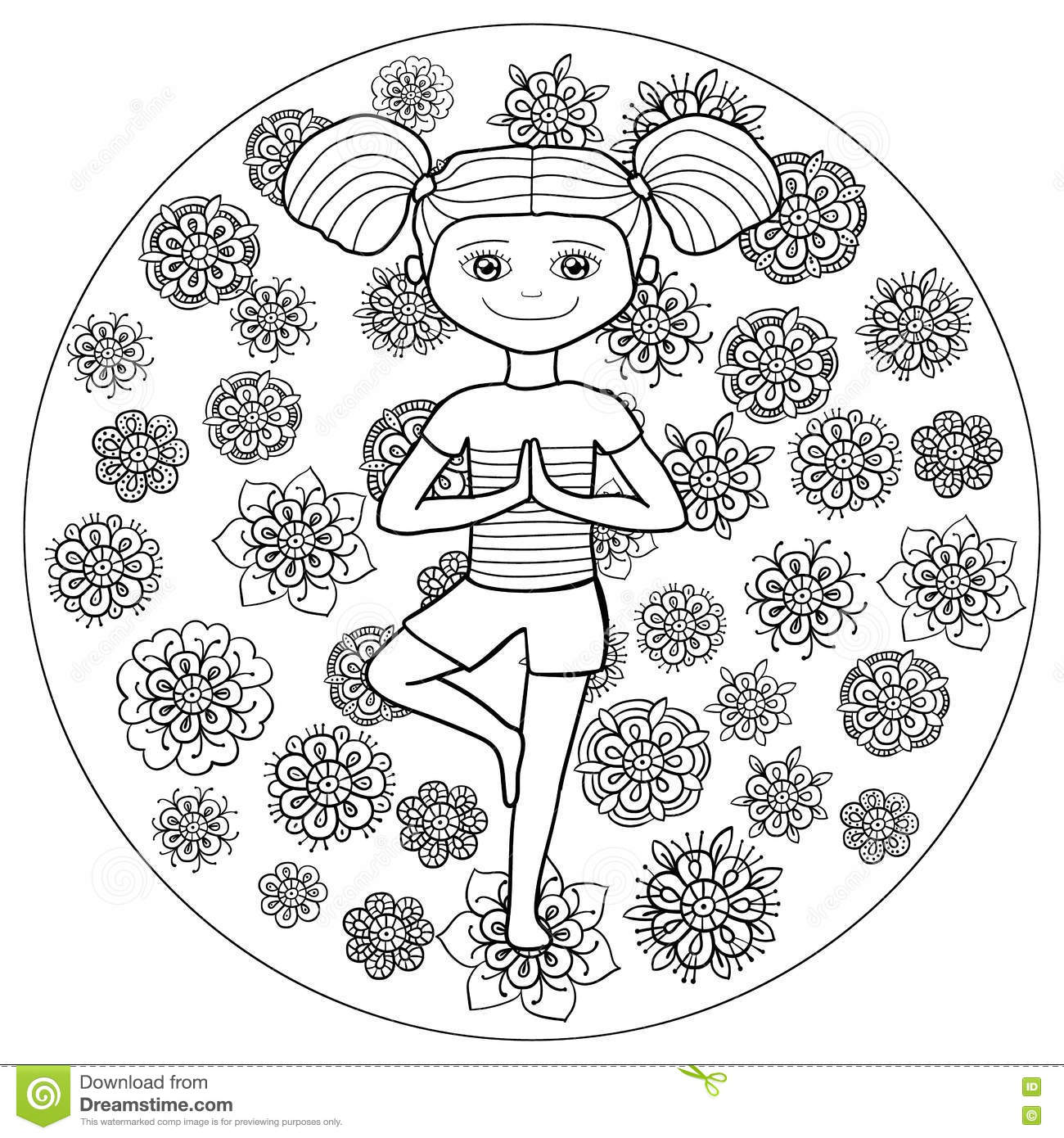Adult Coloring Page Young Girl In Tree Yoga Pose Stock Vector