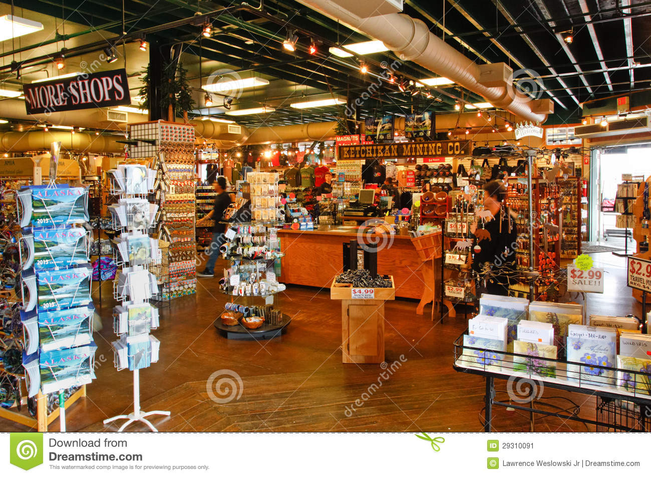 Alaska Ketchikan Mining Company Shop Interior Editorial Photo     A view of the interior of the Ketchikan Mining Company gift shop store  A  popular summer cruise ship port of call  Ketchikan is located at the start  of the