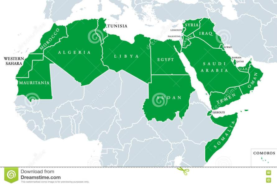 Arab World political map stock photo  Image of mauritania   75844656 Download Arab World political map stock photo  Image of mauritania    75844656