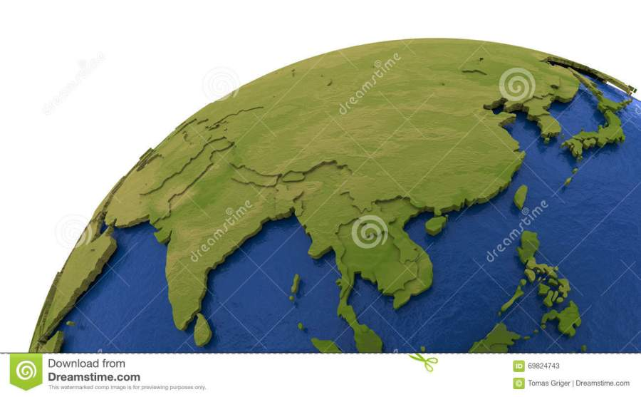 Asian continent on Earth stock illustration  Illustration of     Download Asian continent on Earth stock illustration  Illustration of  southeast   69824743