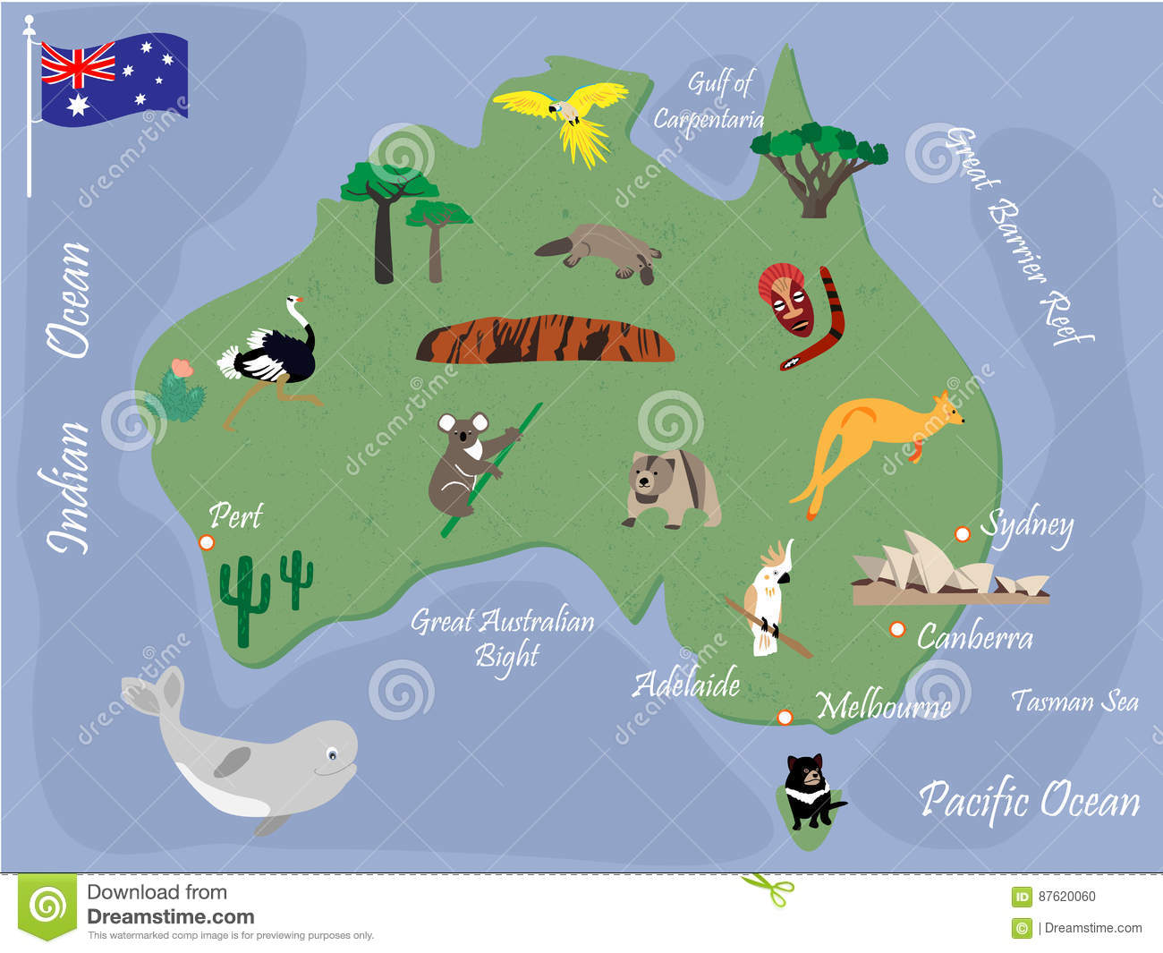 Australian Map With Animals And Landmarks Stock Vector     Download Australian Map With Animals And Landmarks Stock Vector    Illustration of architecture  australia