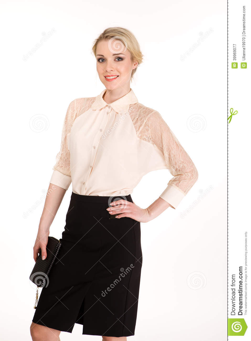 Beautiful Blond Business Woman In White Blouse And Black ...