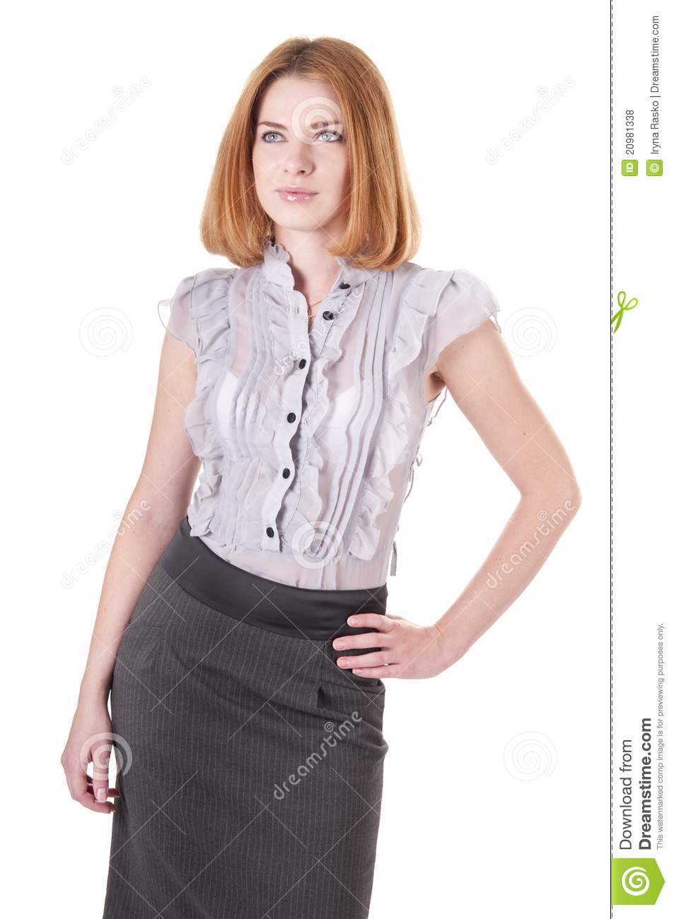 Beautiful Young Woman In Blouse And Skirt On White Stock ...