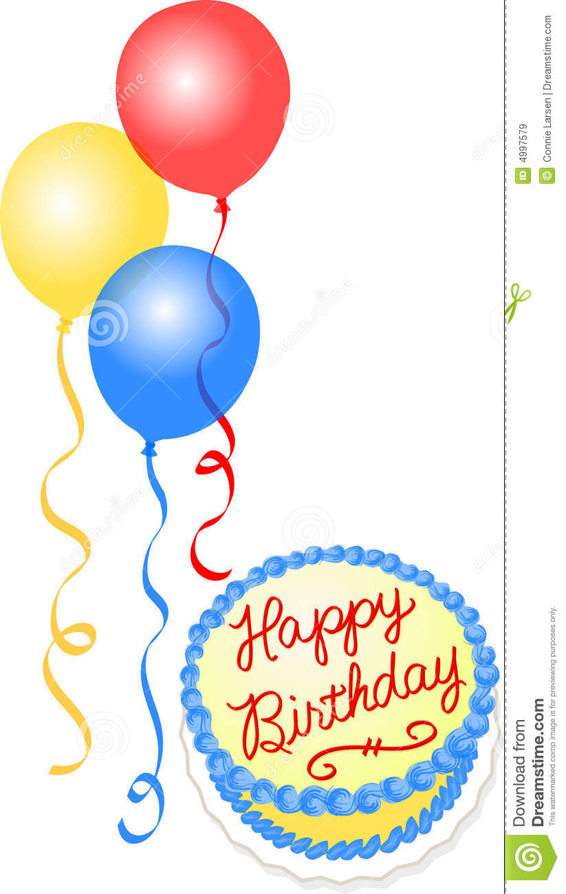 Birthday Cake And Balloons Royalty Free Stock Images