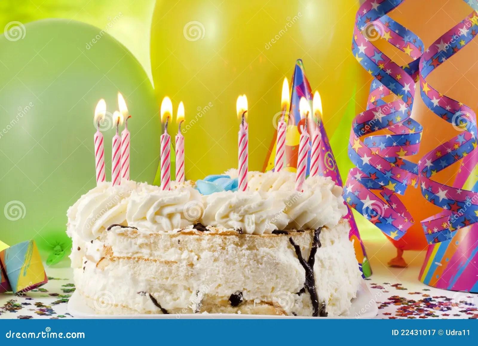 Birthday Cake And Colorful Background Stock Image Image