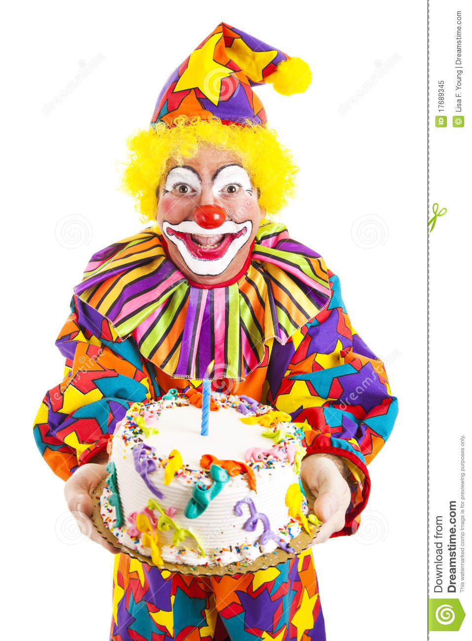 Birthday Clown With Cake Stock Image Image Of Candle