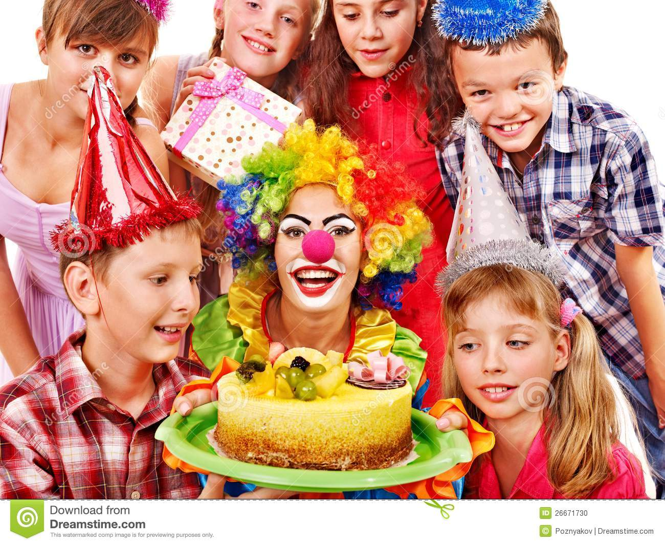 Birthday Party Group Of Child With Cake Stock Photo