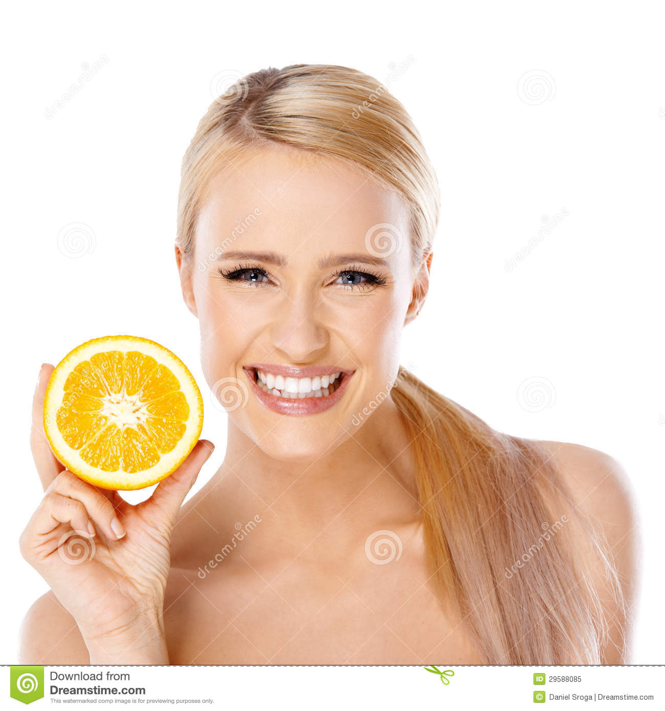 Blond Woman With Beautiful Smile Holding Orange Royalty ...