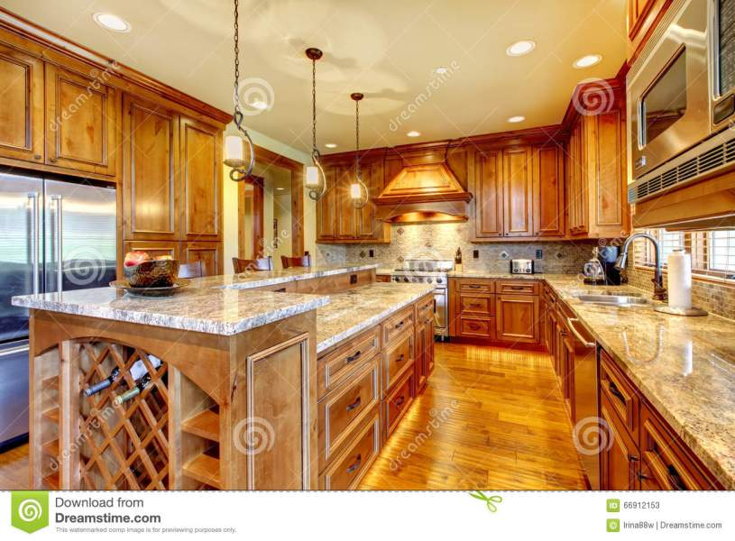 Brilliant Kitchen With Stained Wood Cabinets And Hardwood Floor     Download Brilliant Kitchen With Stained Wood Cabinets And Hardwood Floor   Stock Image   Image of