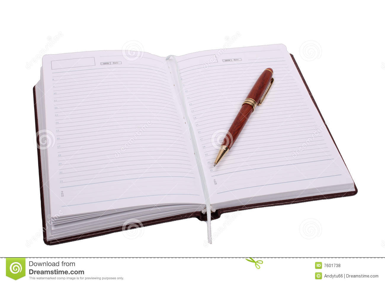 Brown Notebook And Pen Royalty Free Stock Photos Image