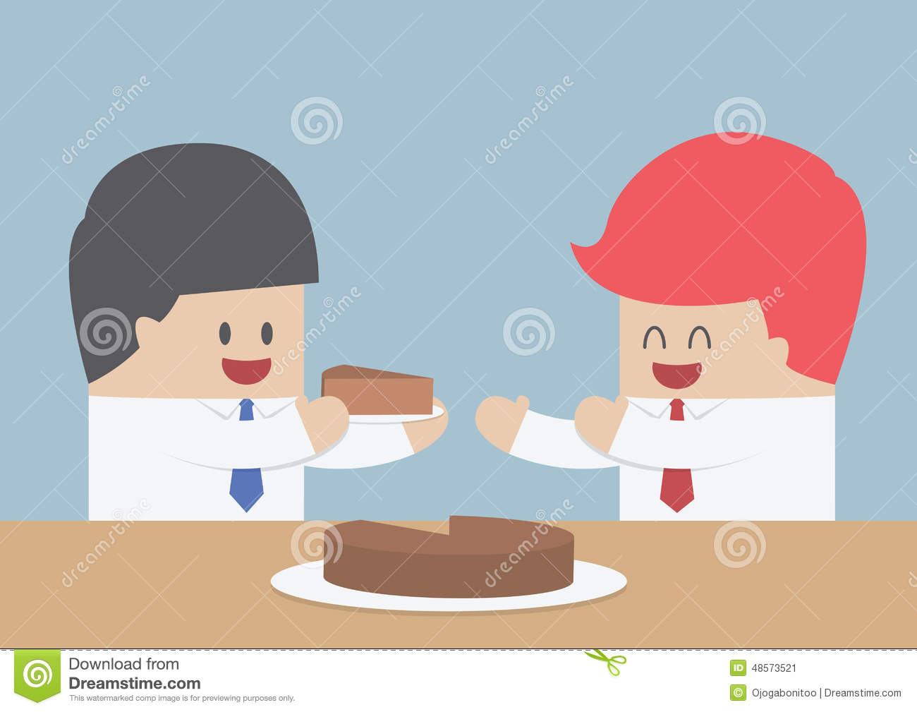 Businessman Give A Piece Of Cake To Another Market Share