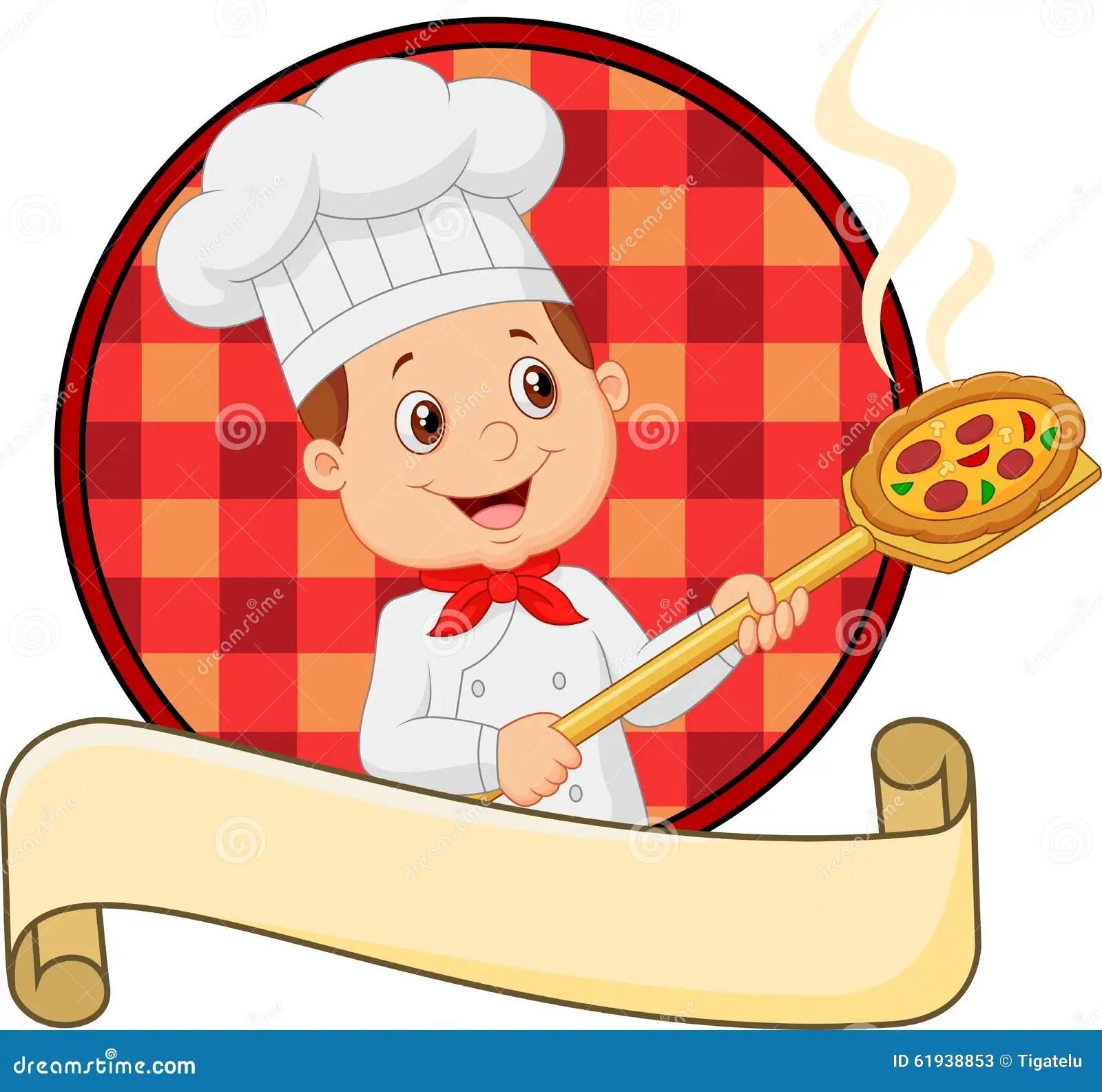 Baker Cartoon Holding Cake