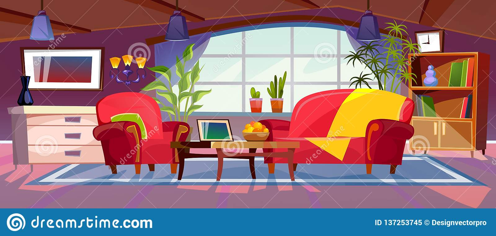 Cartoon Living Room Interior View Empty Colorful Room