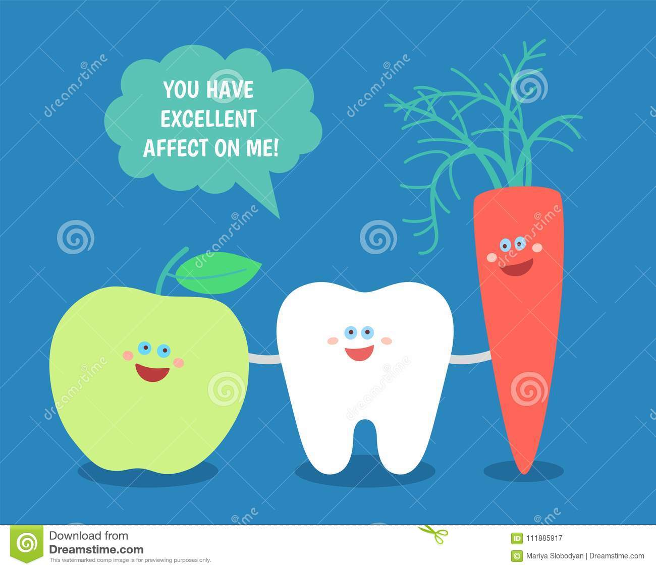 Cartoon Tooth With Green Apple And Carrot Good Food For