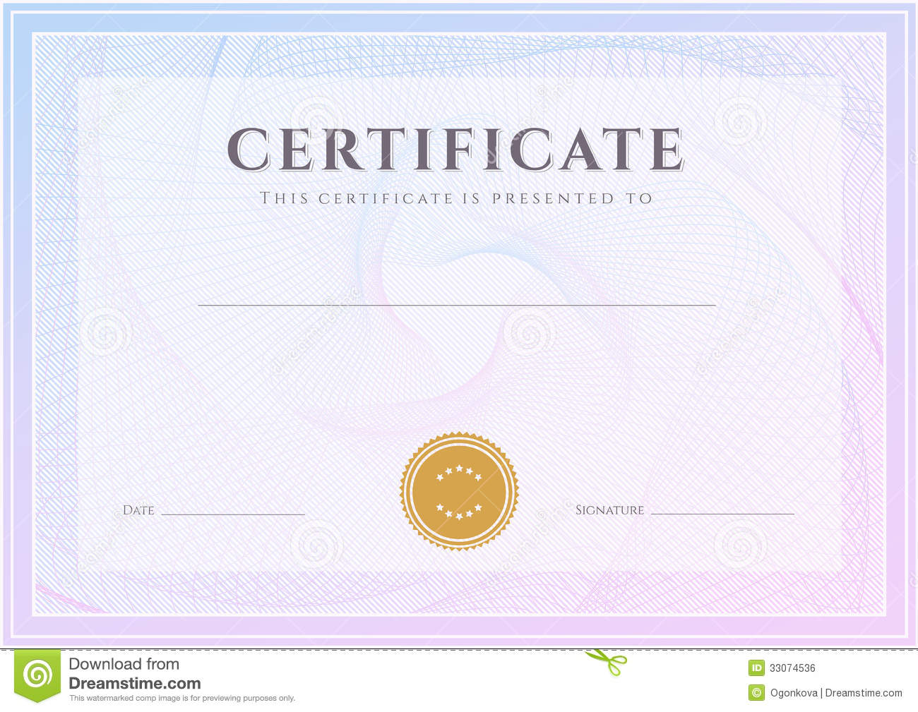 Certificate, Diploma Template. Award Pattern Stock Vector ...