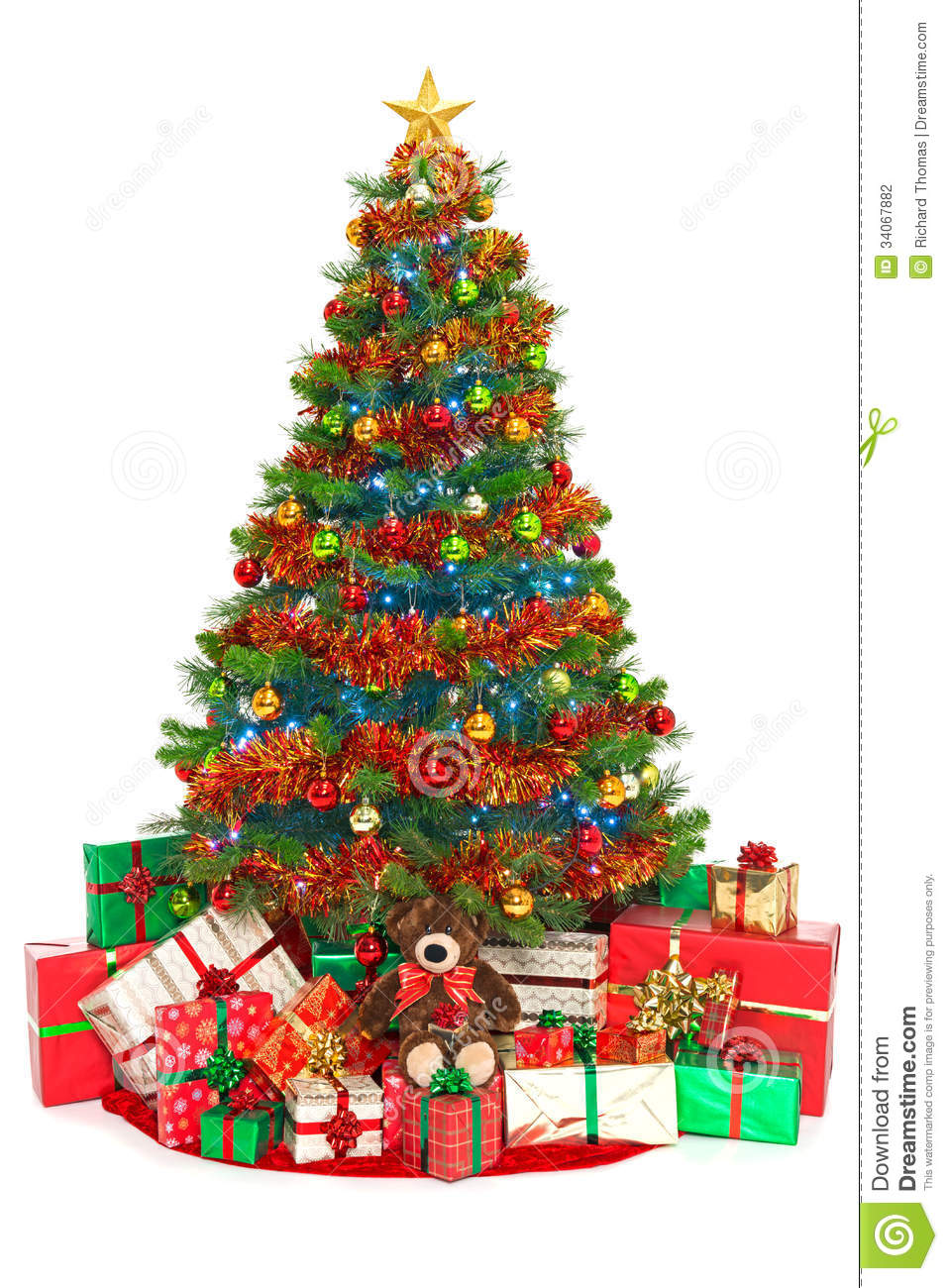 Christmas Tree And Presents Isolated On White Stock