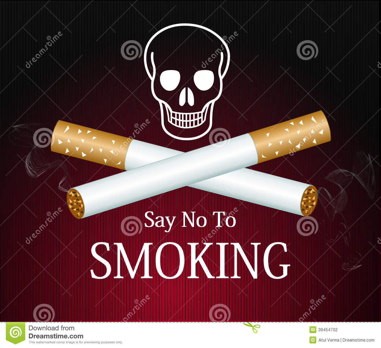 Cigarette Smoke Graphic On Red Background Reading Stock