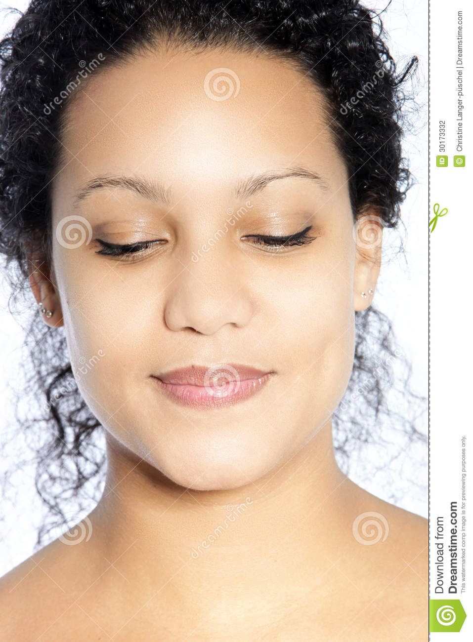Portrait Of Smiling Woman With Eyes Closed Stock Photo ...
