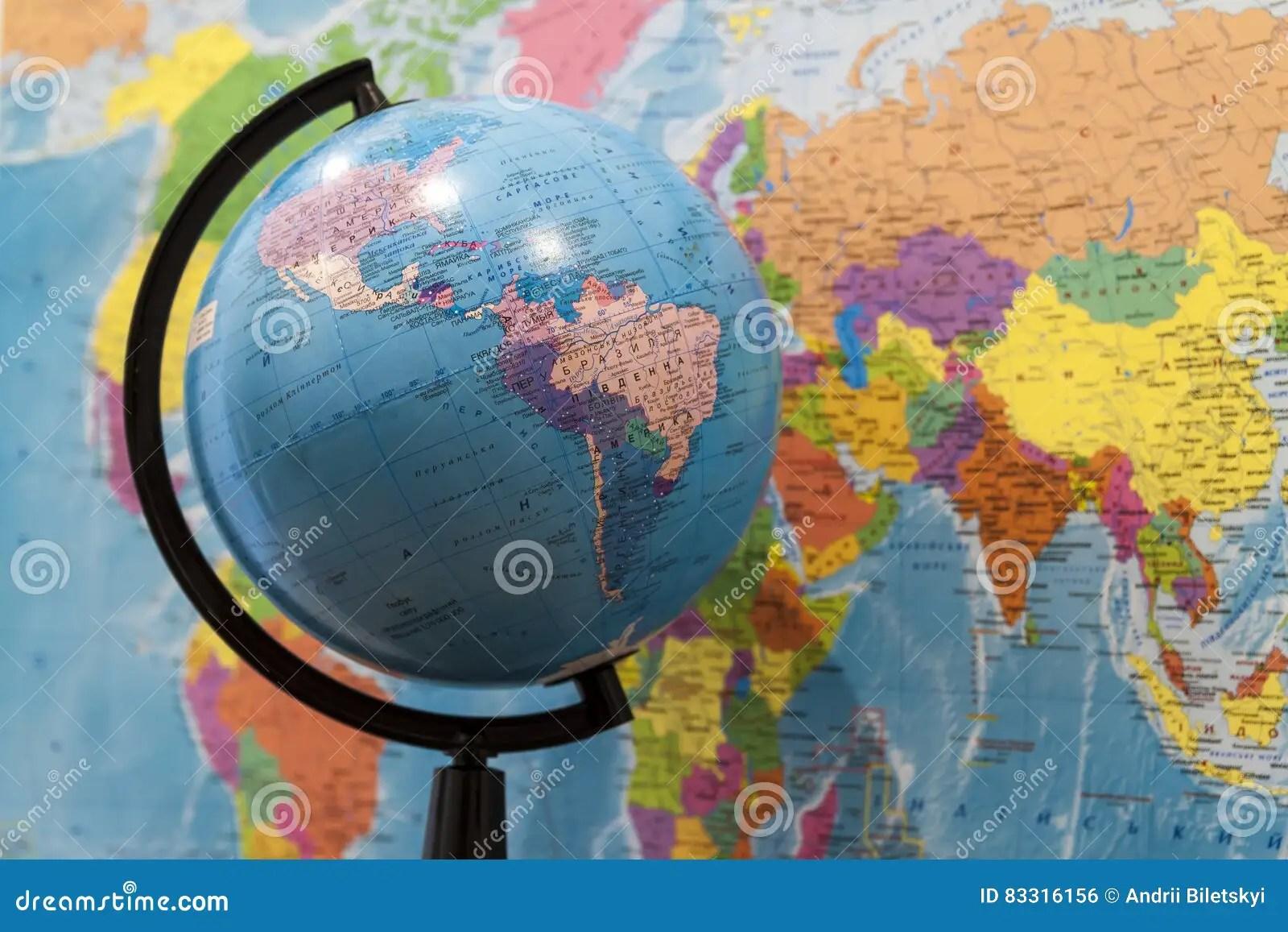 South America globe olitical world map