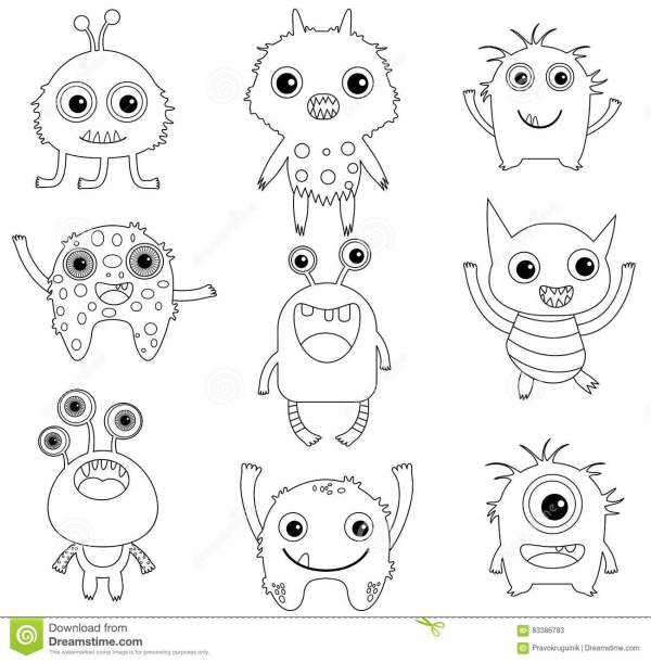 cute monster coloring pages # 6