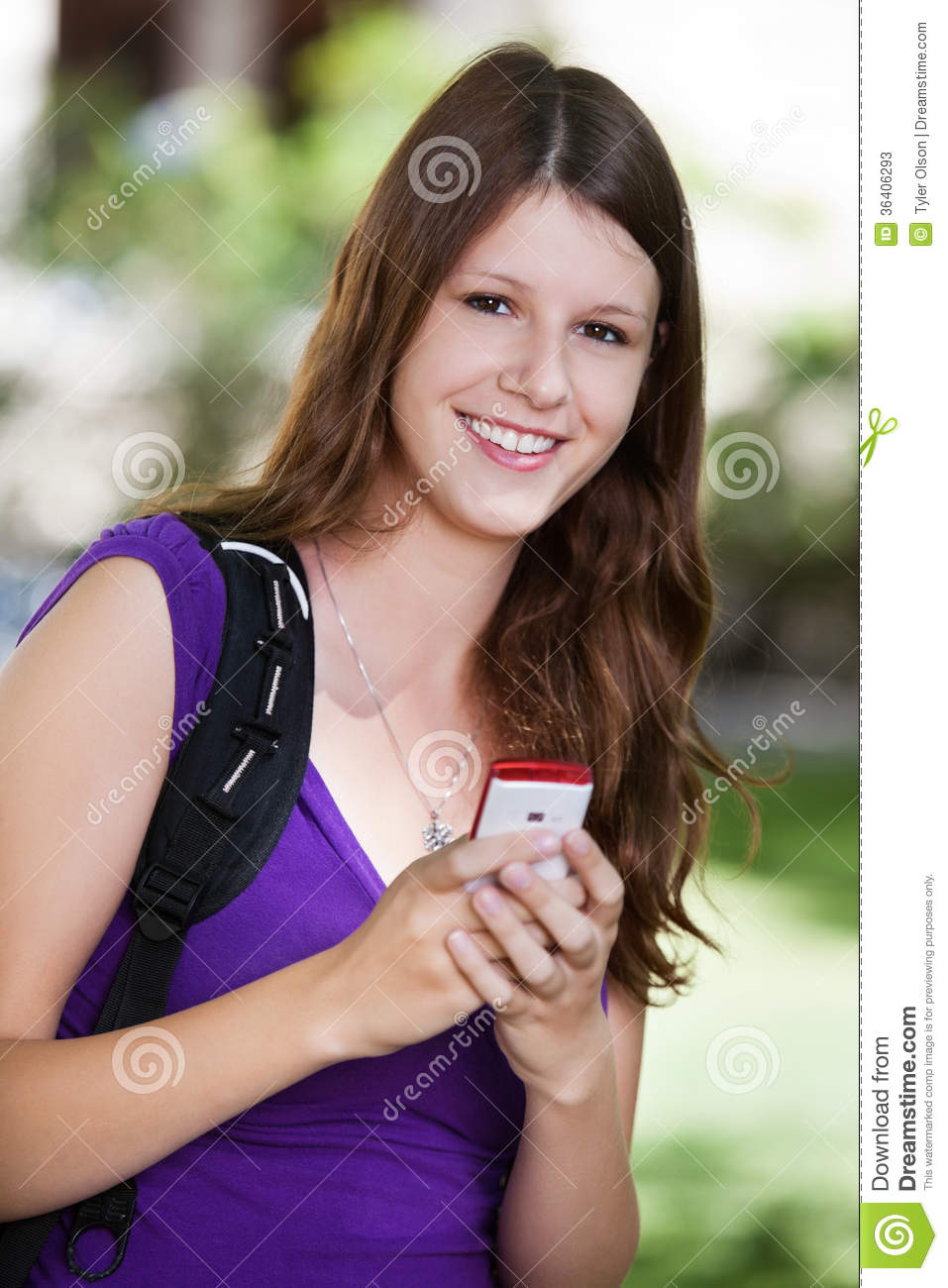 College Girl Holding Cell Phone Stock Photos Image 36406293