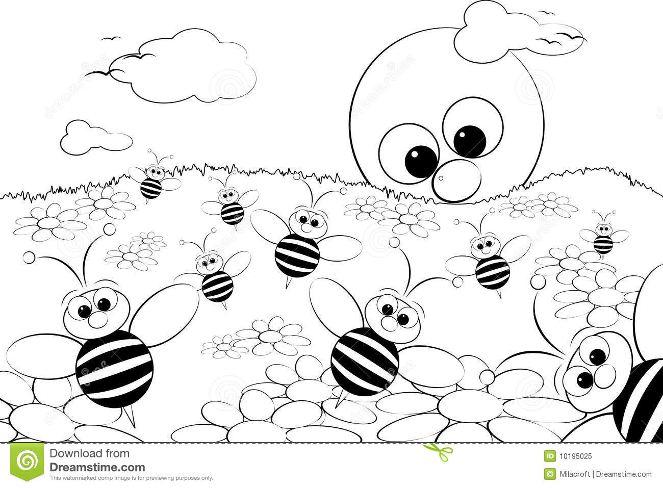 Coloring Page Landscape With Sun And Bees Stock Vector