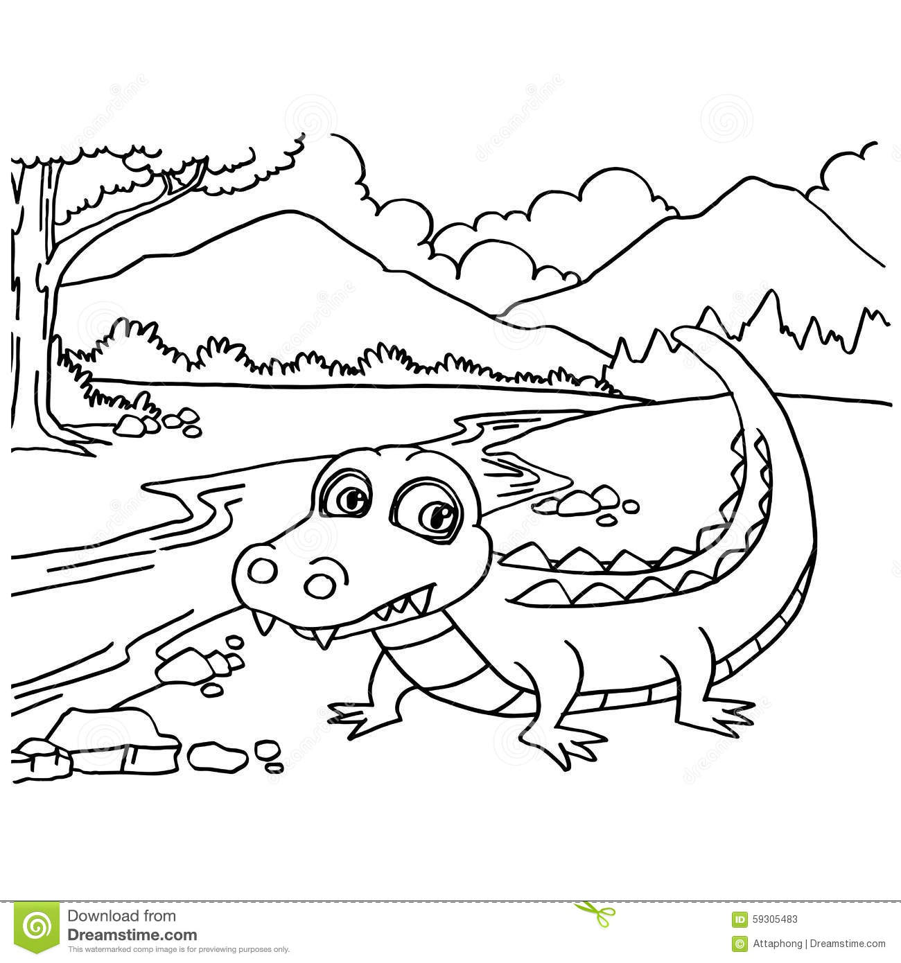 Crocodile Coloring Pages Vector Stock Vector Illustration 59305483