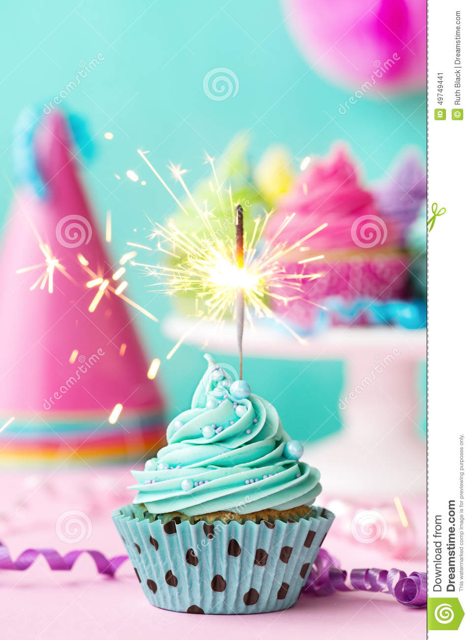 Cupcake With Sparkler Stock Photo Image 49749441