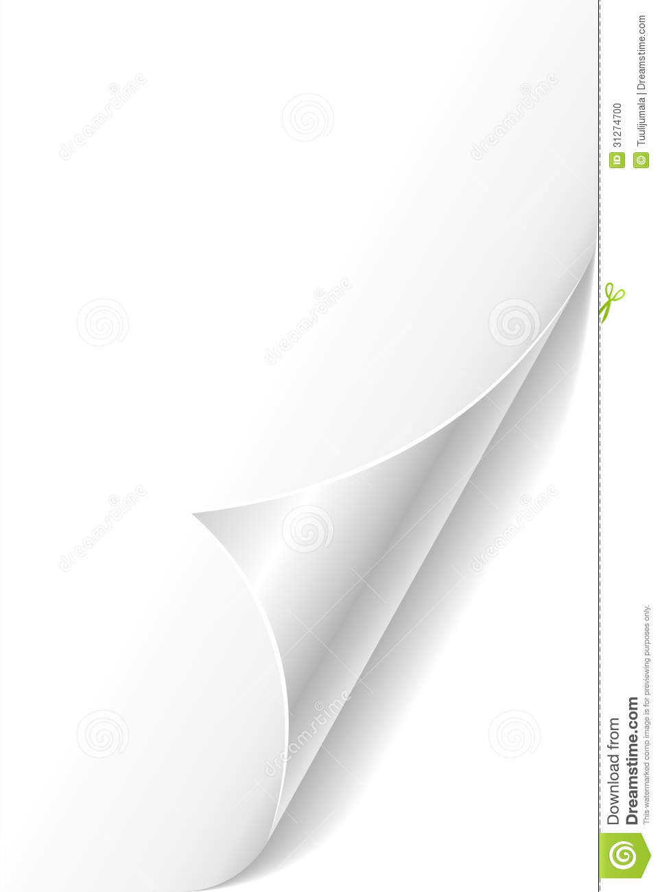Curled Paper Page Corner Stock Photo Image 31274700